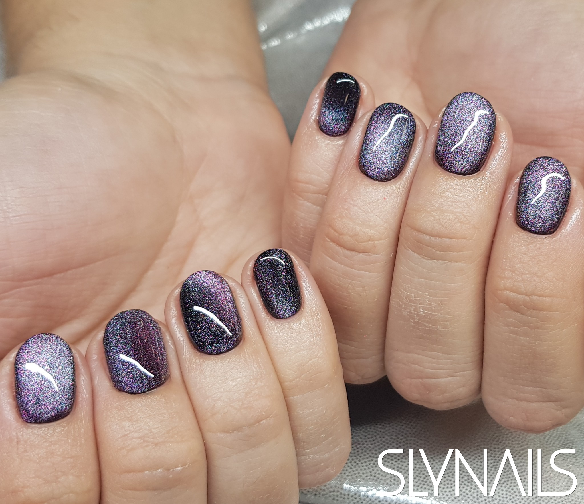 Gel-lac (gel polish), Black, Magnetic, Purple, Silver, Rounded, One color