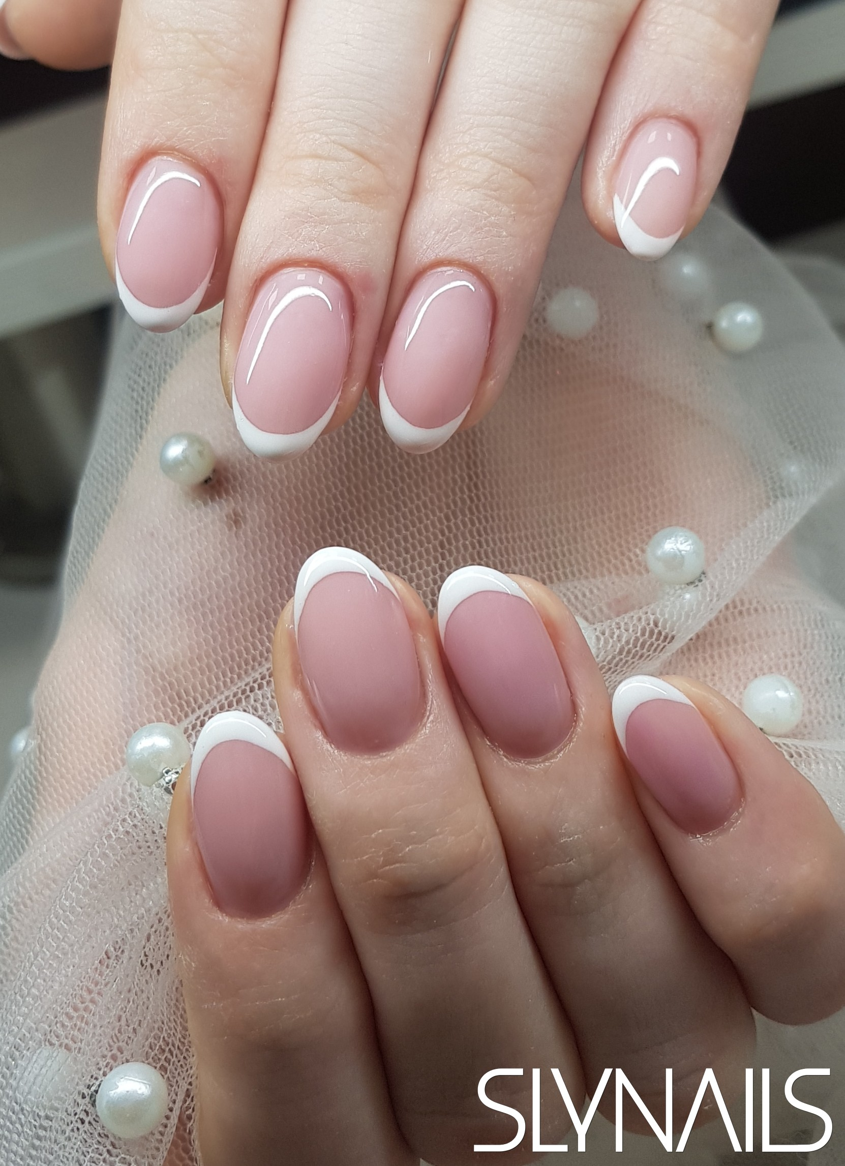 French, White, Nail extension, Without decoration, Almond