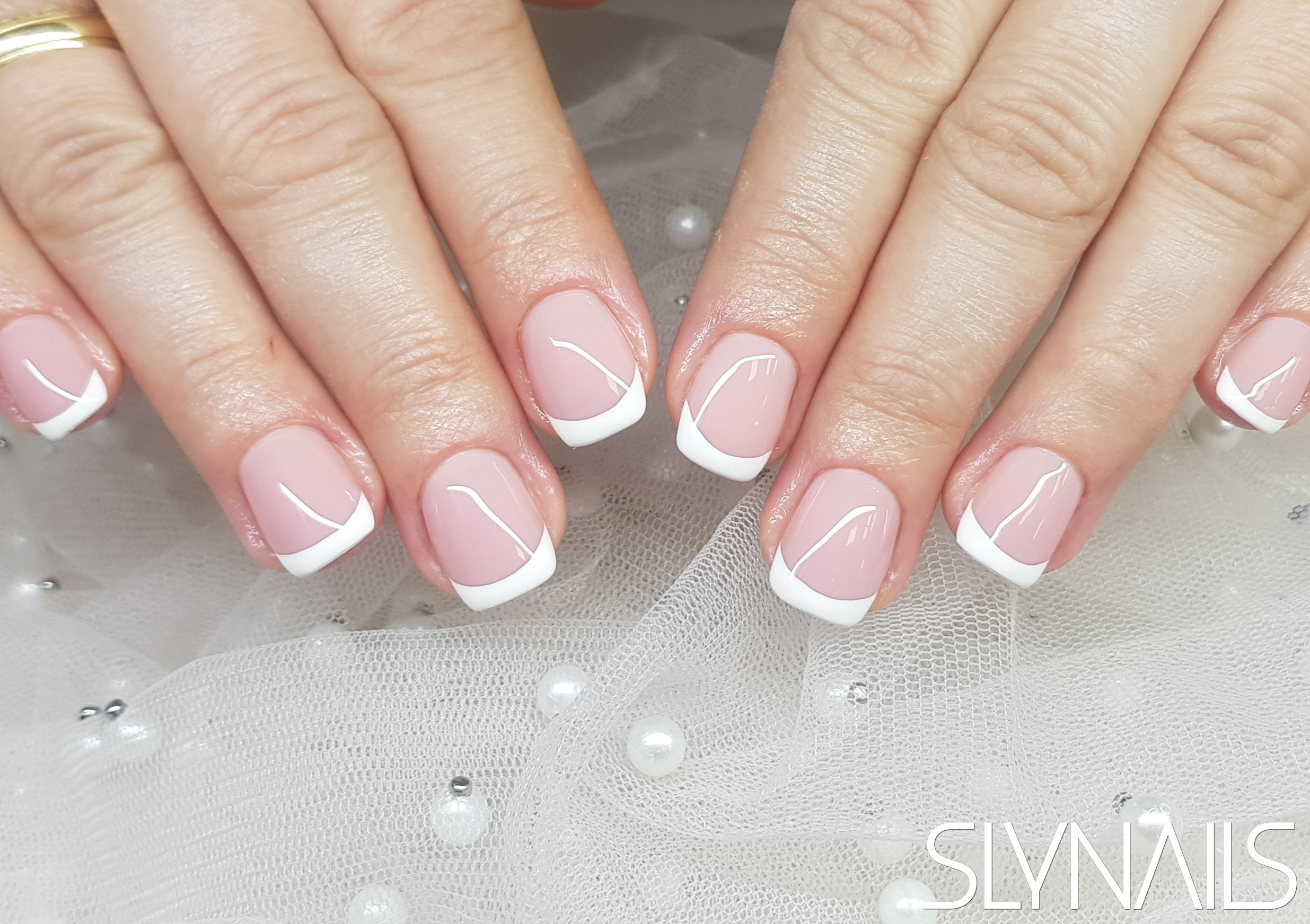 Nail extension, French, White, Square, Without decoration