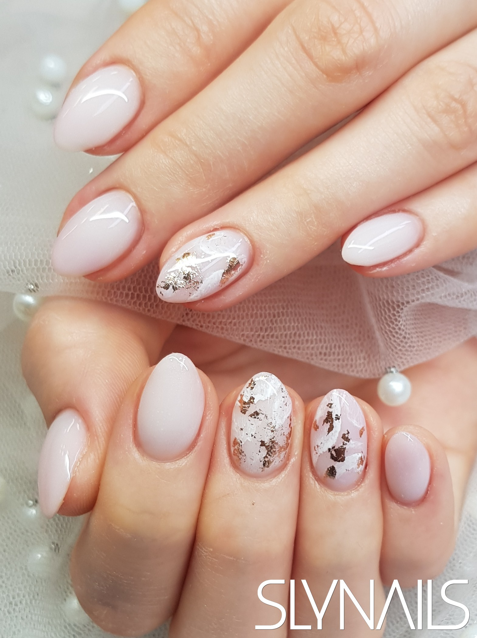 Milky white, Almond, Transfer Foil, Marble effect, Nail extension