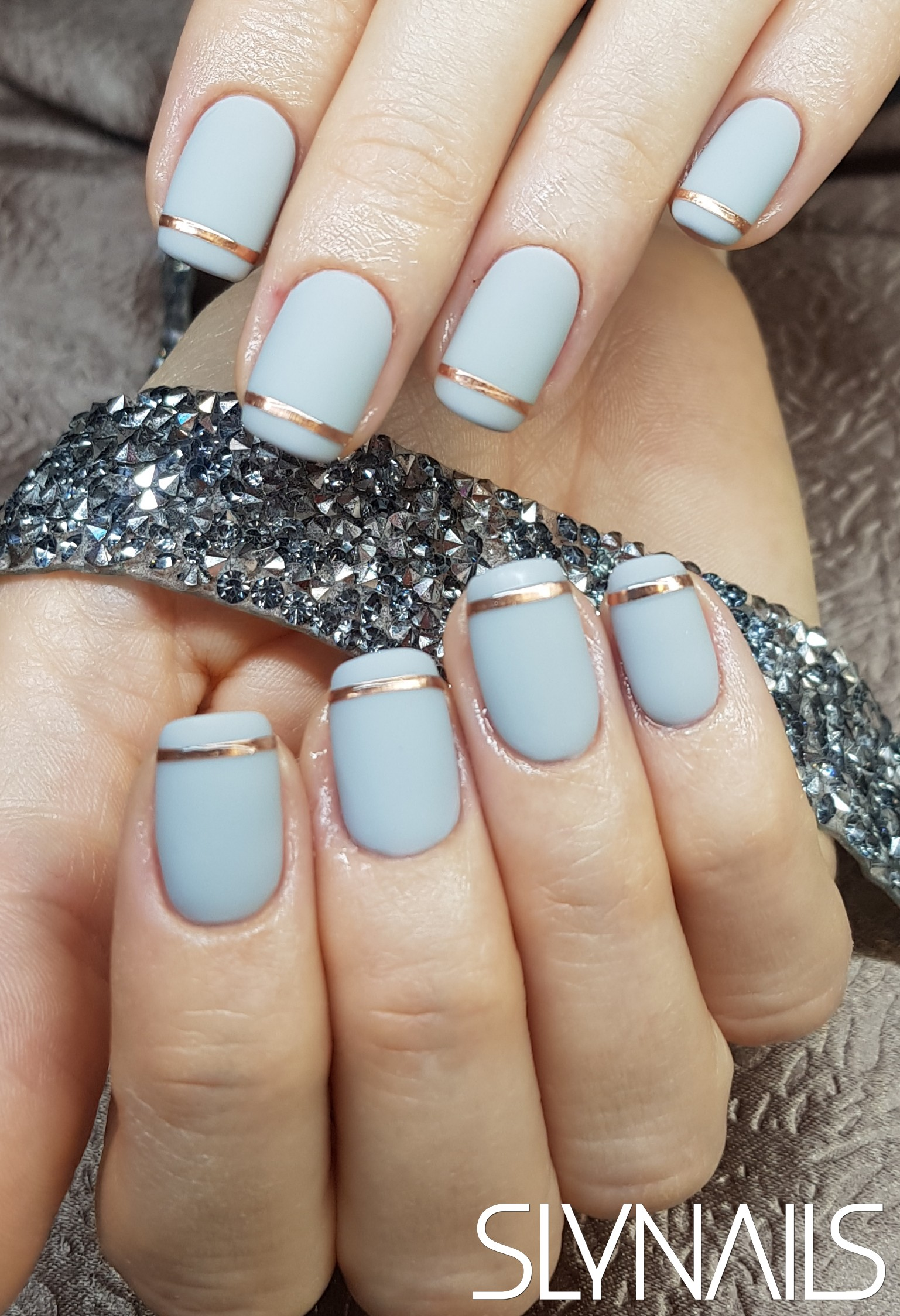 Gel-lac (gel polish), Grey, One color, Sticker, Matte, Square