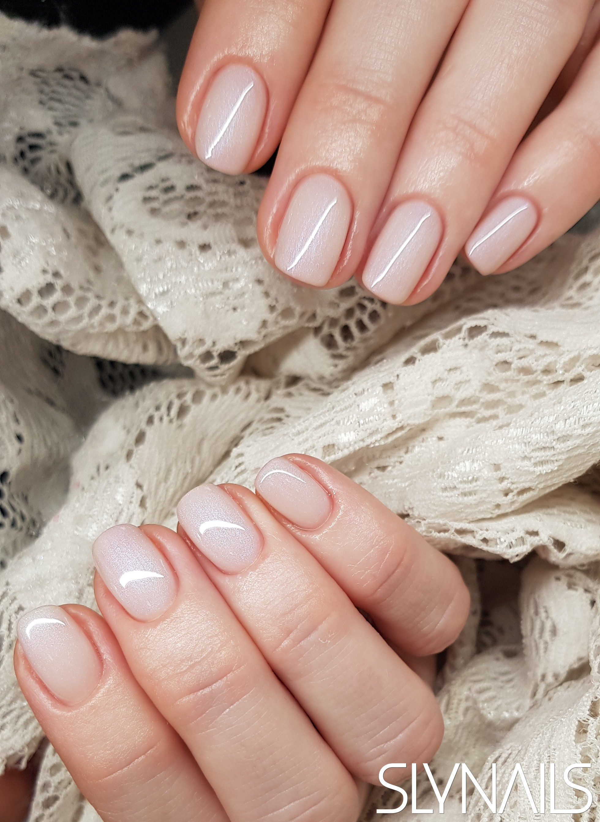 Gel-lac (gel polish), Milky white, One color, Without decoration