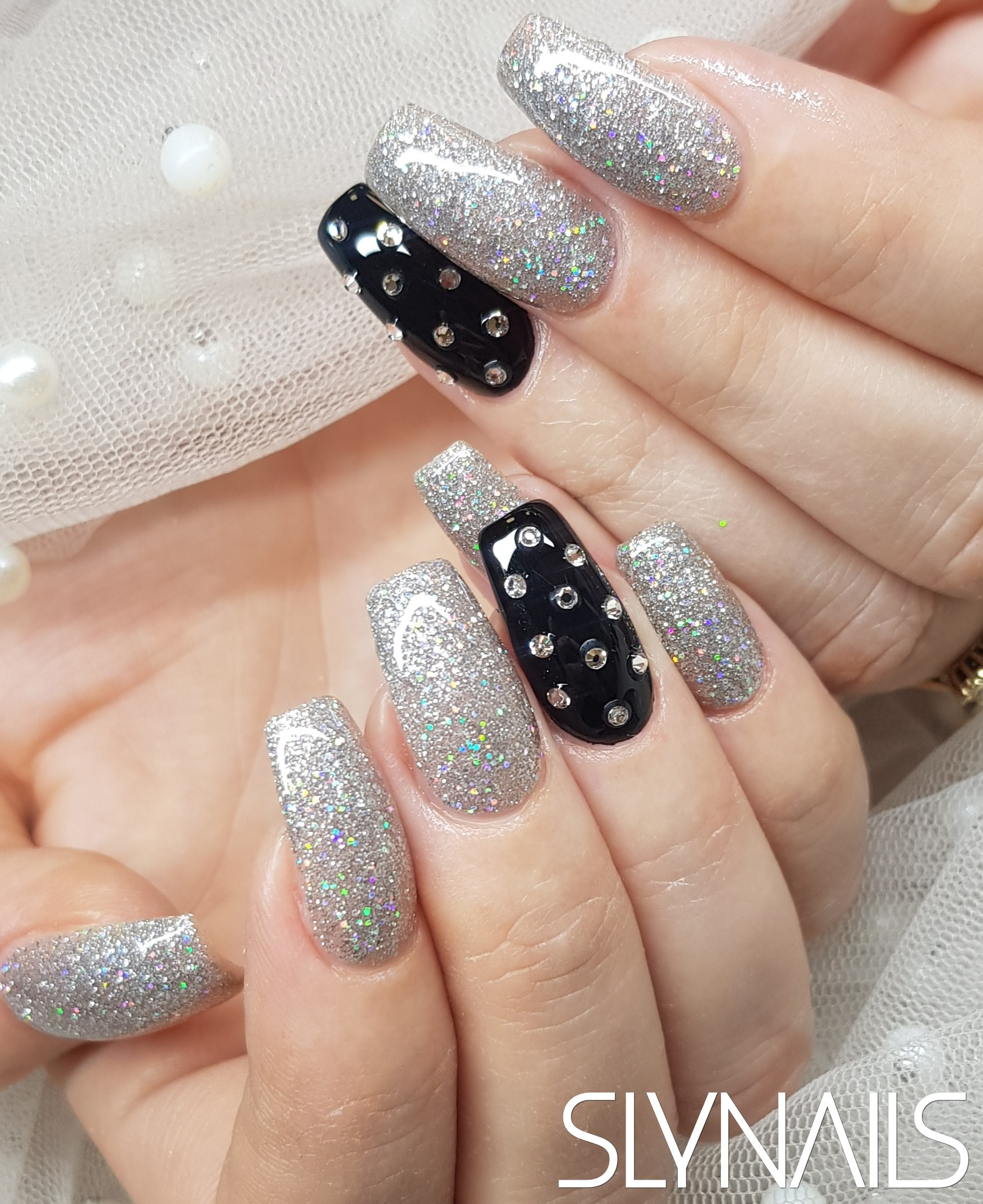 Nail extension, Narrowed cube, Silver, Black, One color, Swarovski