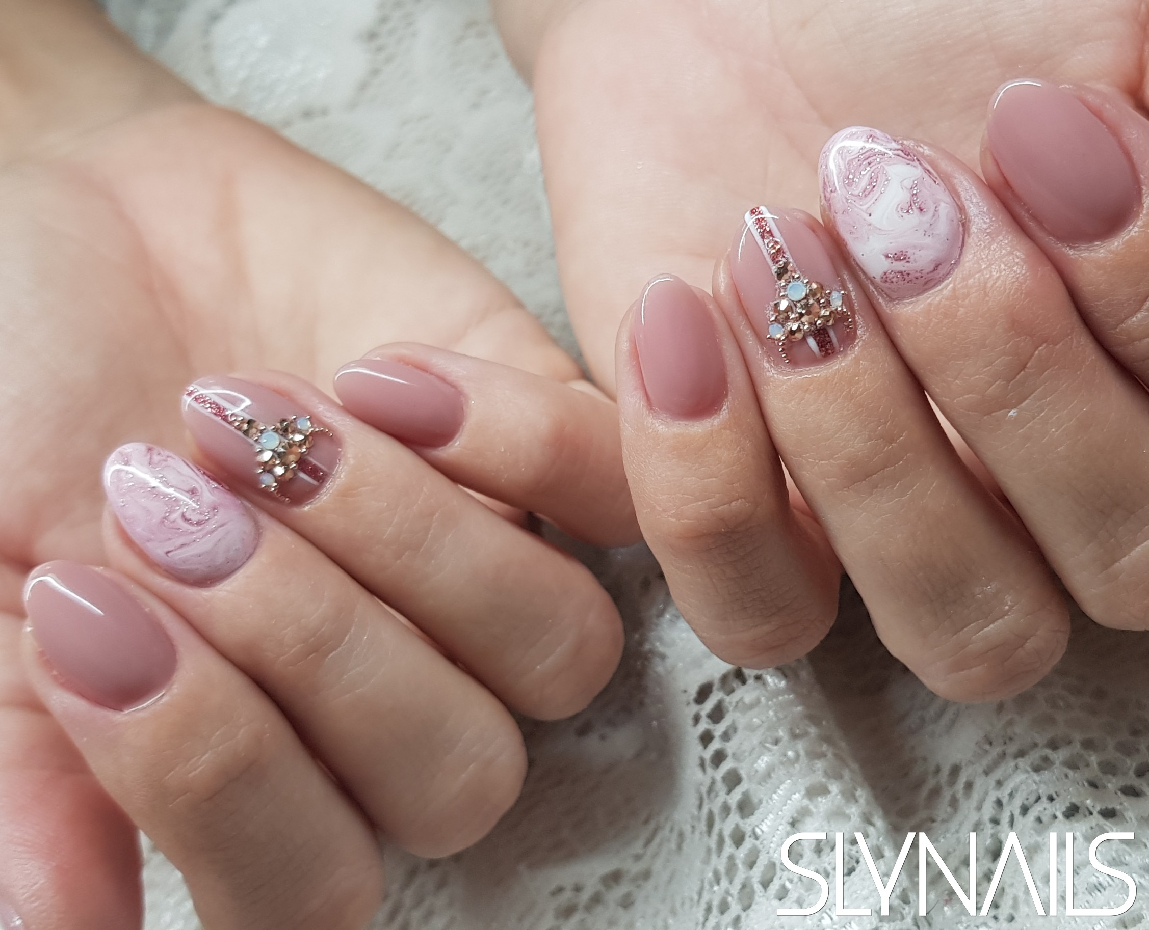 Nail extension, Nude, Almond, Marble effect, Swarovski, Art gel decorations