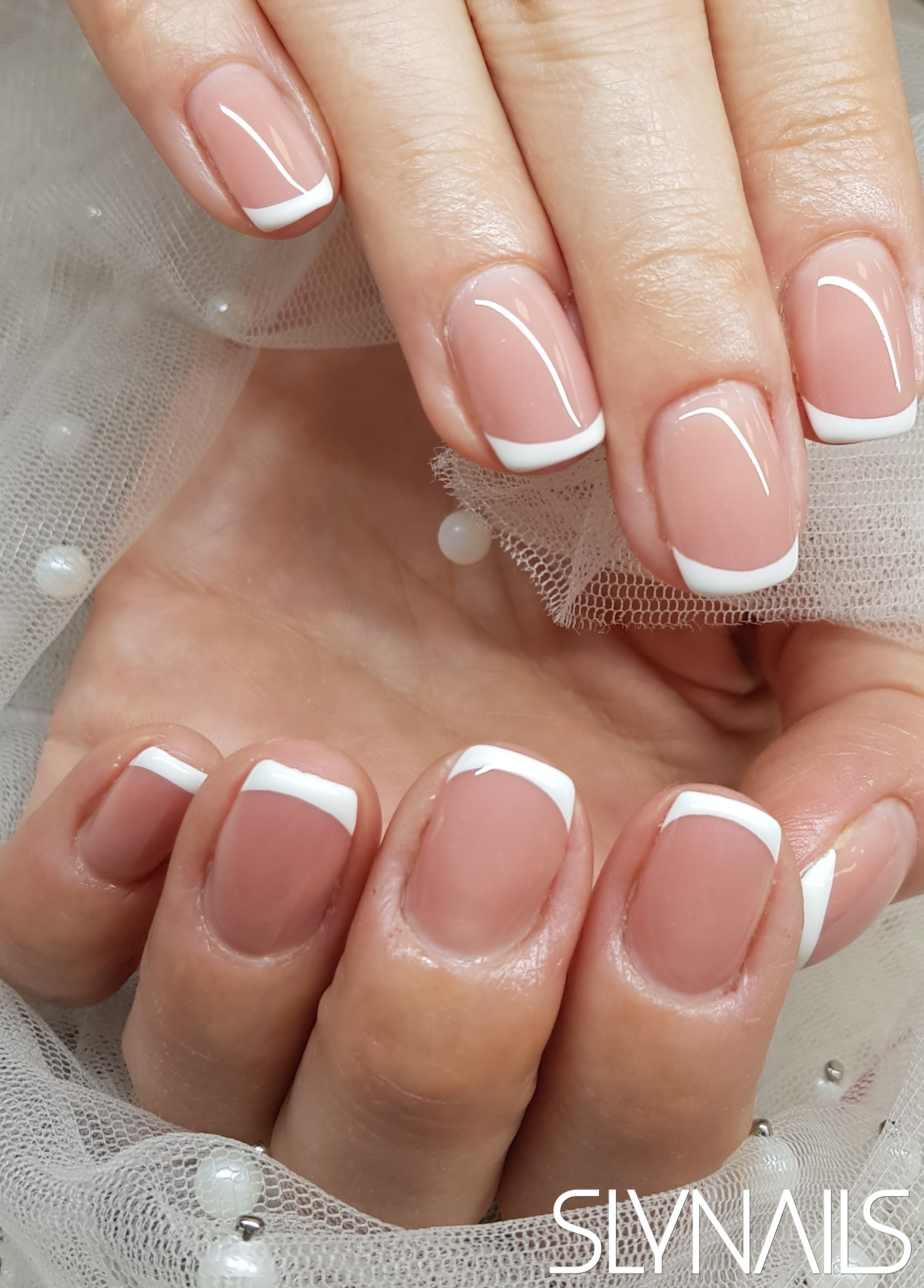 Gel-lac (gel polish), French, White, Square, Without decoration
