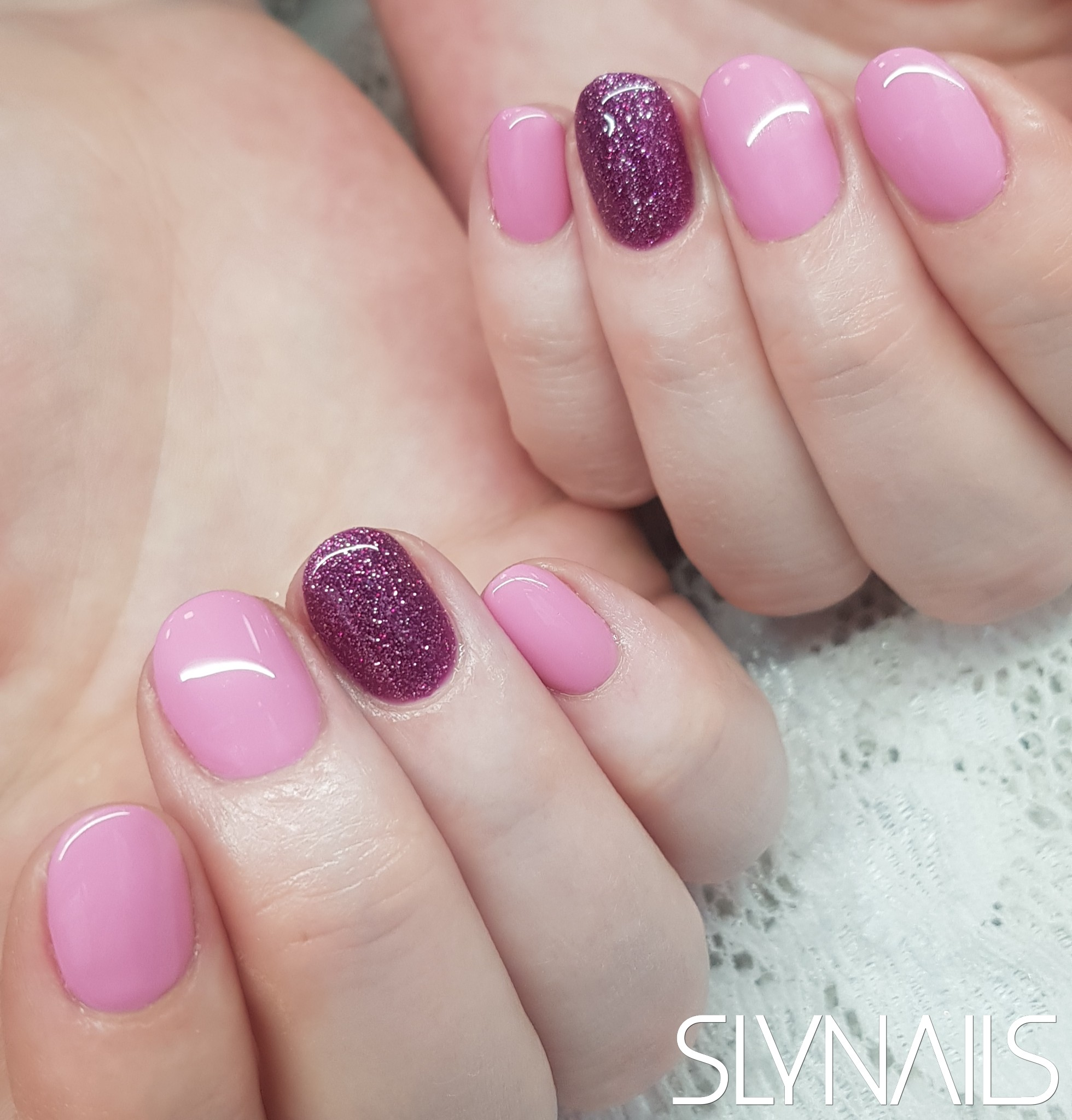 Gel-lac (gel polish), Pink, Purple, One color, Rounded, Without decoration