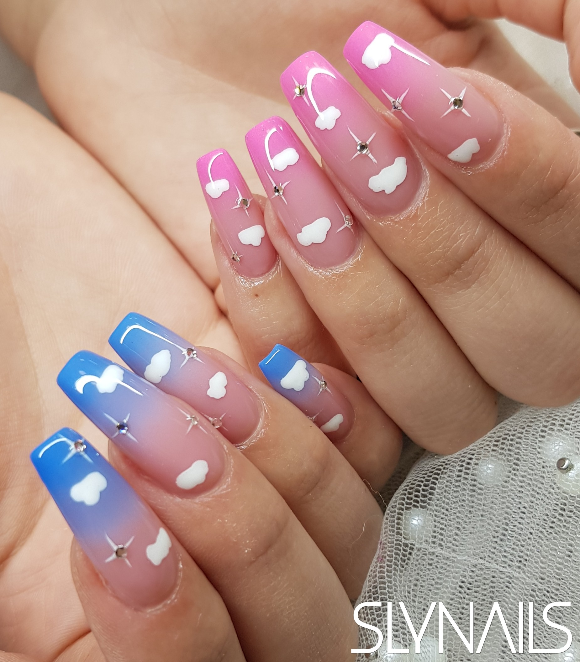 Nail extension, Longer nails, Ombre, Blue, Pink, Art gel decorations, Swarovski