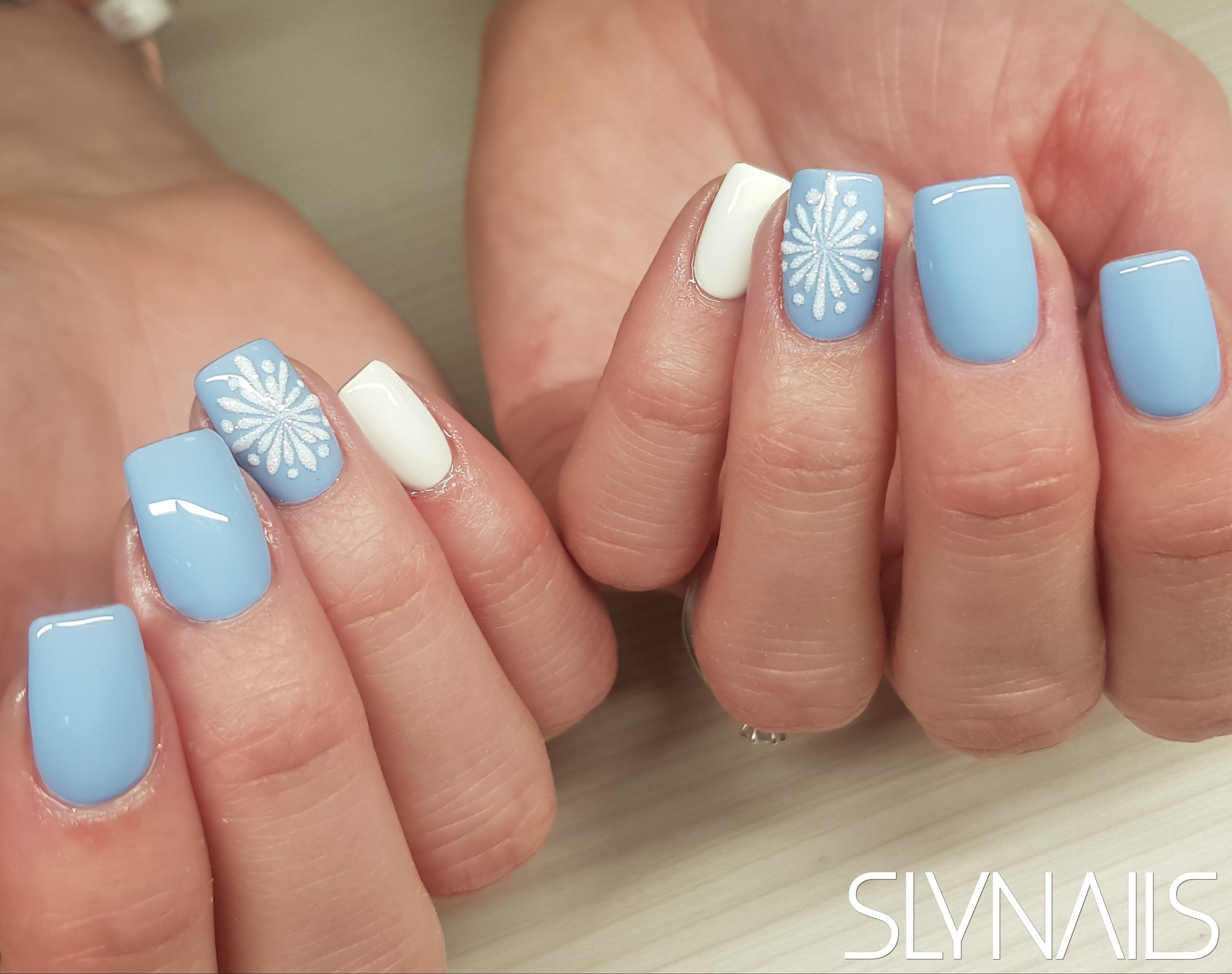 Nail extension, Blue, Sugar Effect, Snowflake, Winter-Christmas, Square, One color, Pastel
