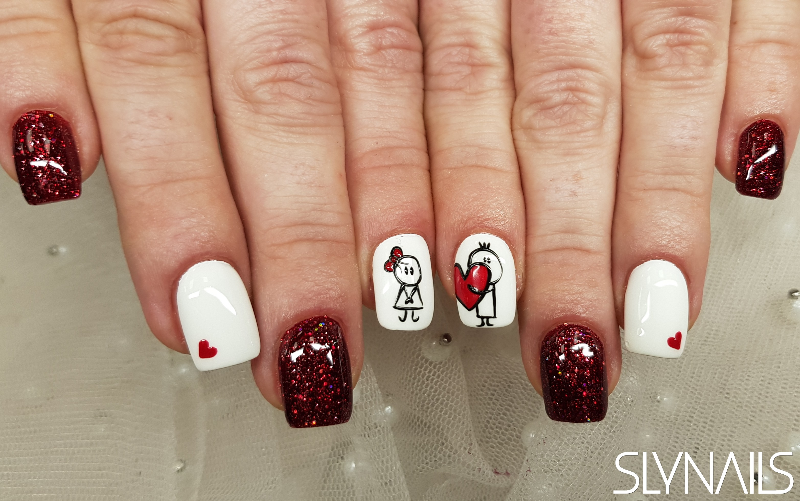 Nail extension, Claret, White, One color, Square, Art gel decorations, Valentine's Day