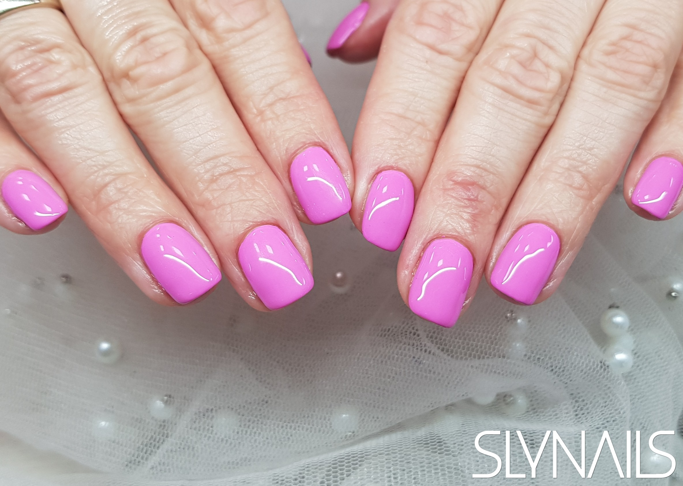 Gel-lac (gel polish), Pink, Square, One color, Without decoration