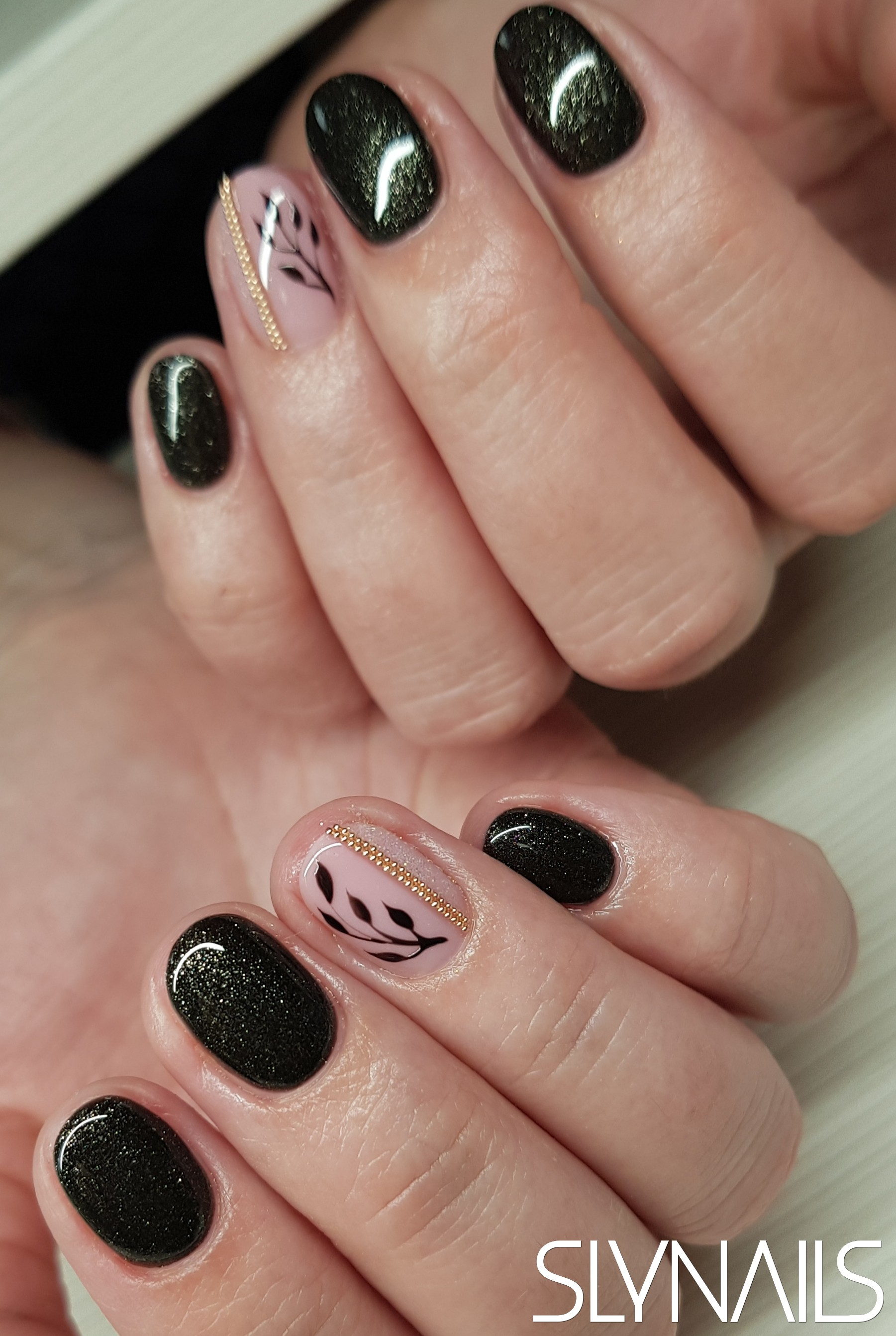 Gel-lac (gel polish), Black, Nude, Rounded, Art gel decorations, One color, Metal Decoration