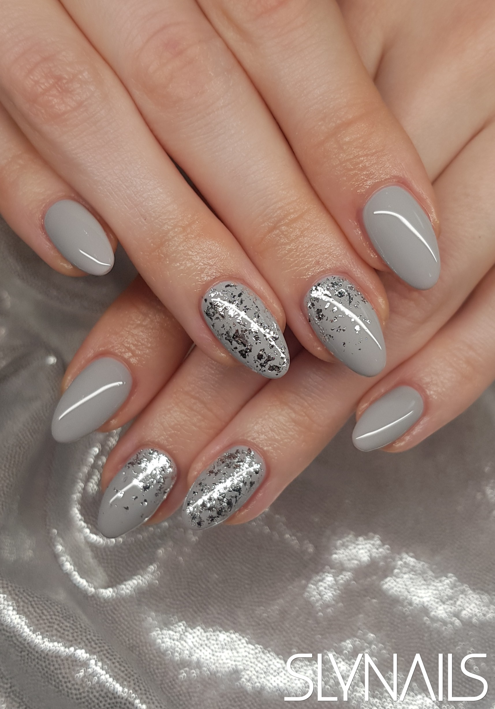 Nail extension, Grey, Almond, Built-in decoration, One color