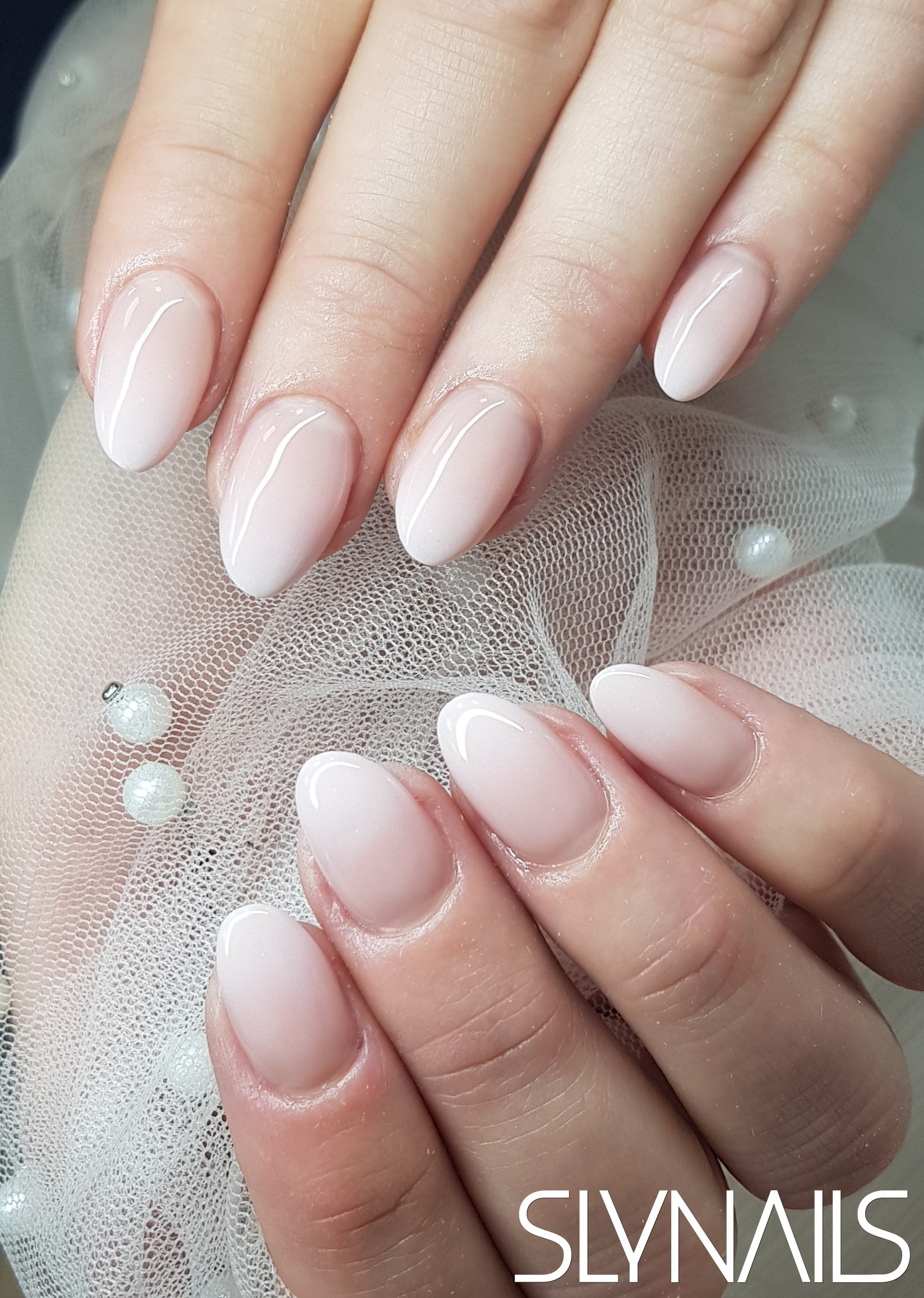 Babyboomer, Almond, Nail extension, Without decoration