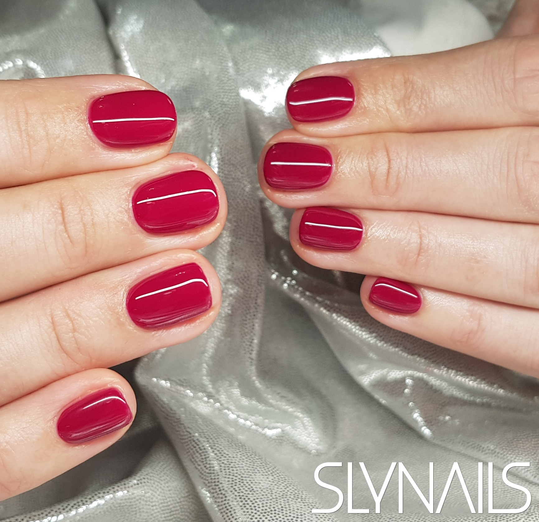 Gel-lac (gel polish), Red, Square, One color, Without decoration