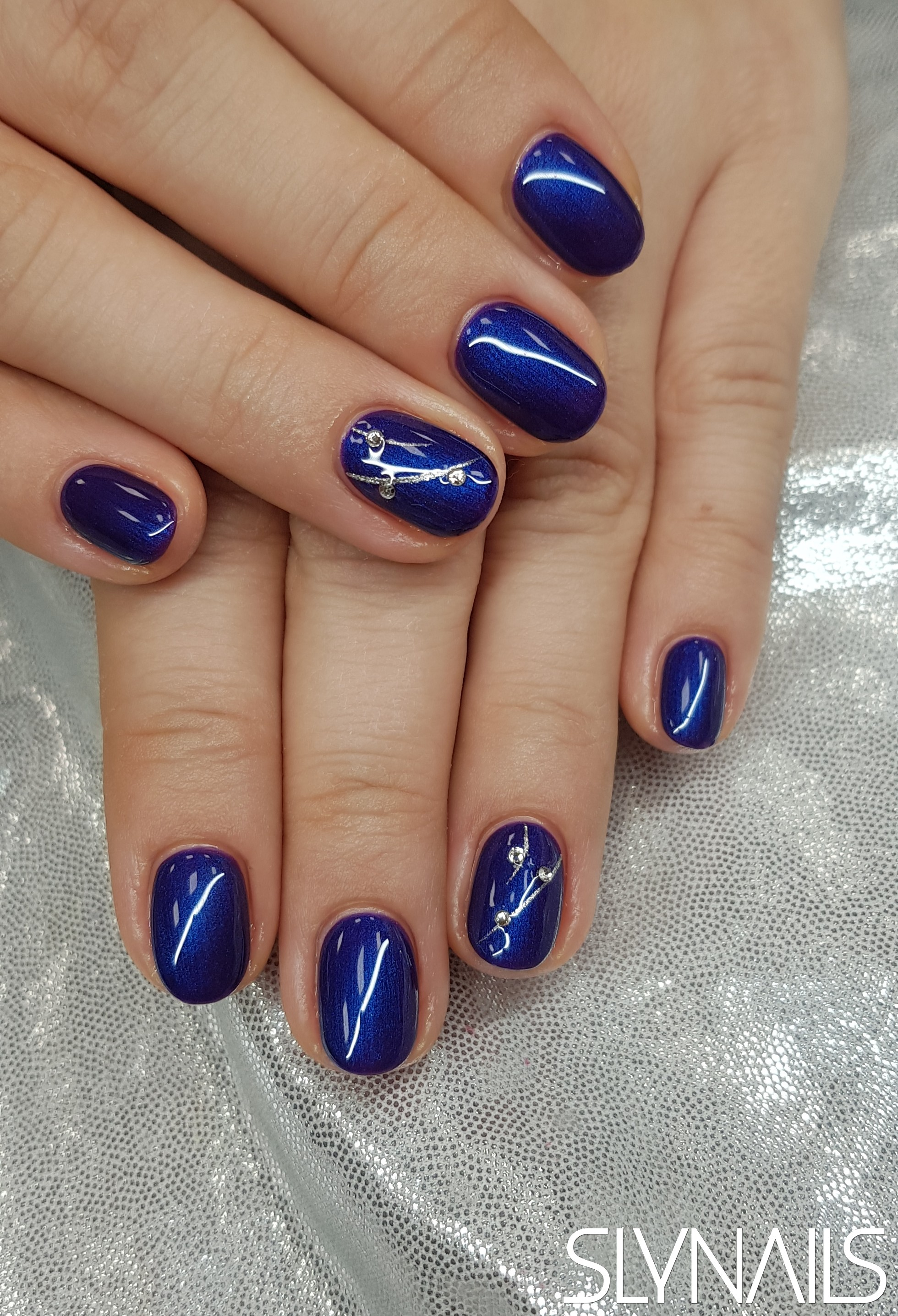 Gel-lac (gel polish), Blue, One color, Rounded