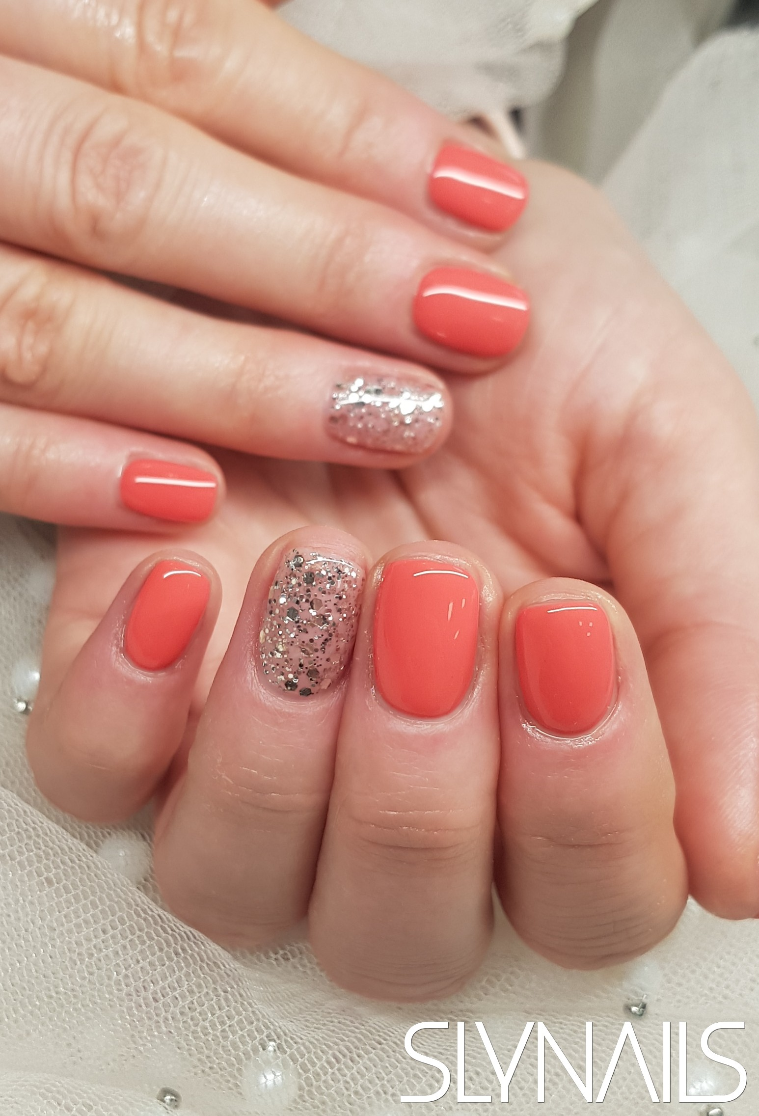 Gel-lac (gel polish), Coral, One color, Square, Bronze