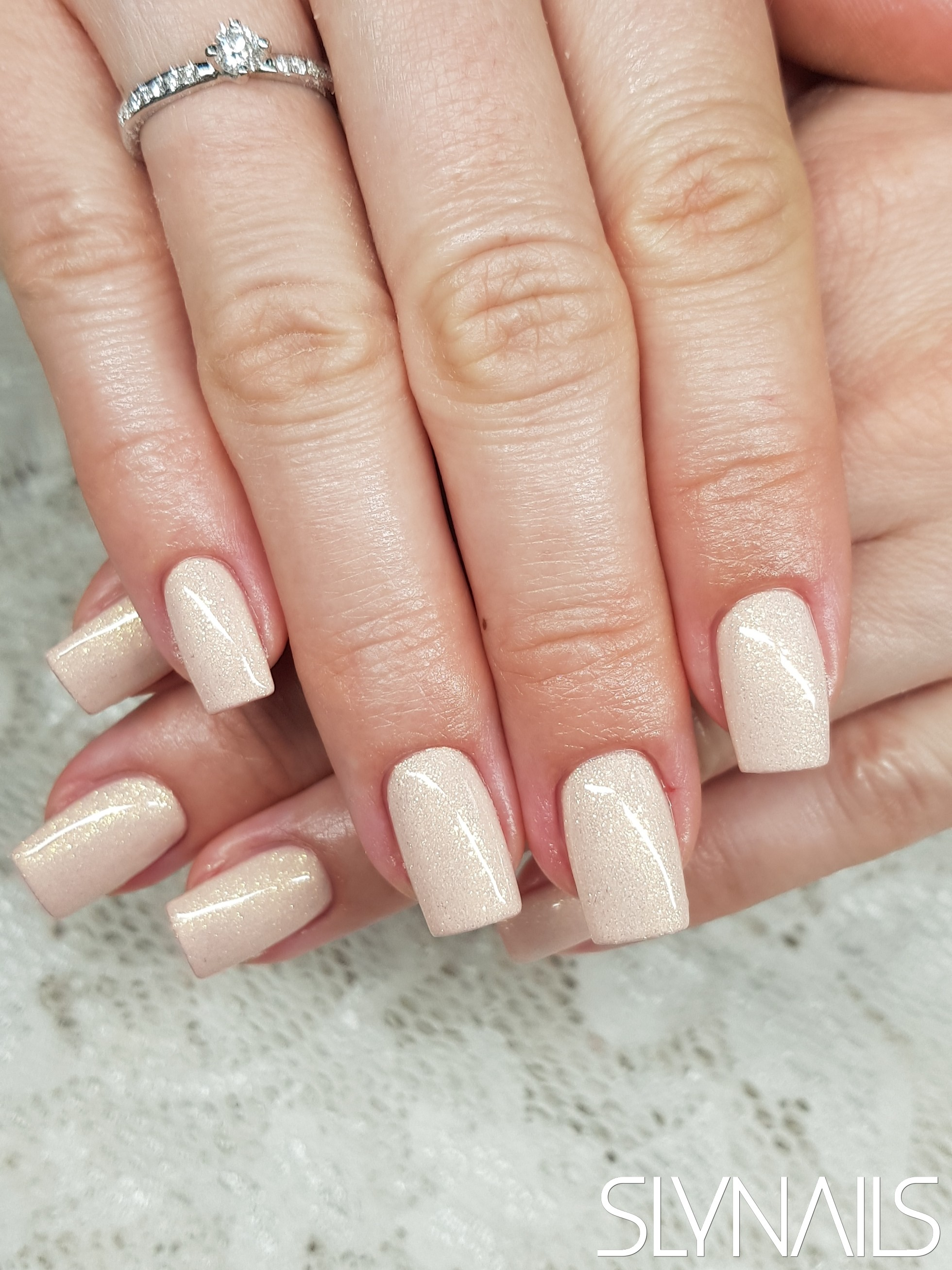 Nail extension, Nude, Square, One color, Without decoration