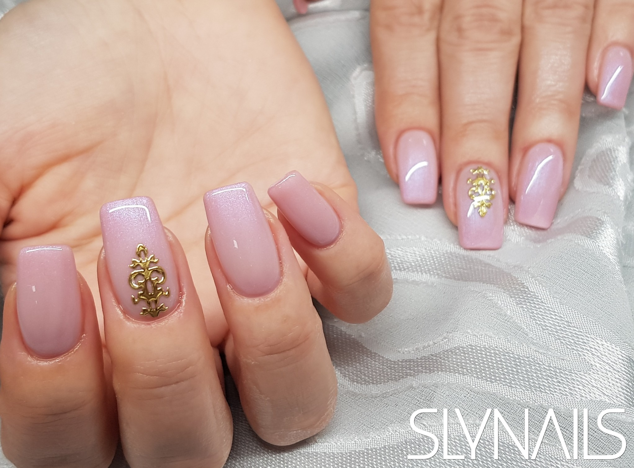 Nail extension, Square, Nude, Sticker, One color