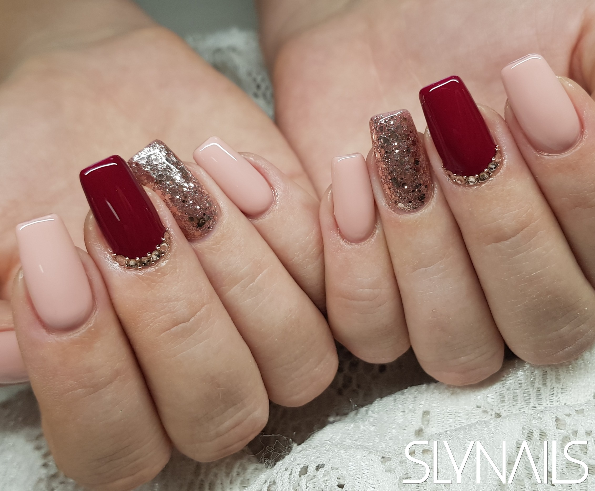 Nail extension, Square, Nude, Claret, Gold, Swarovski, One color