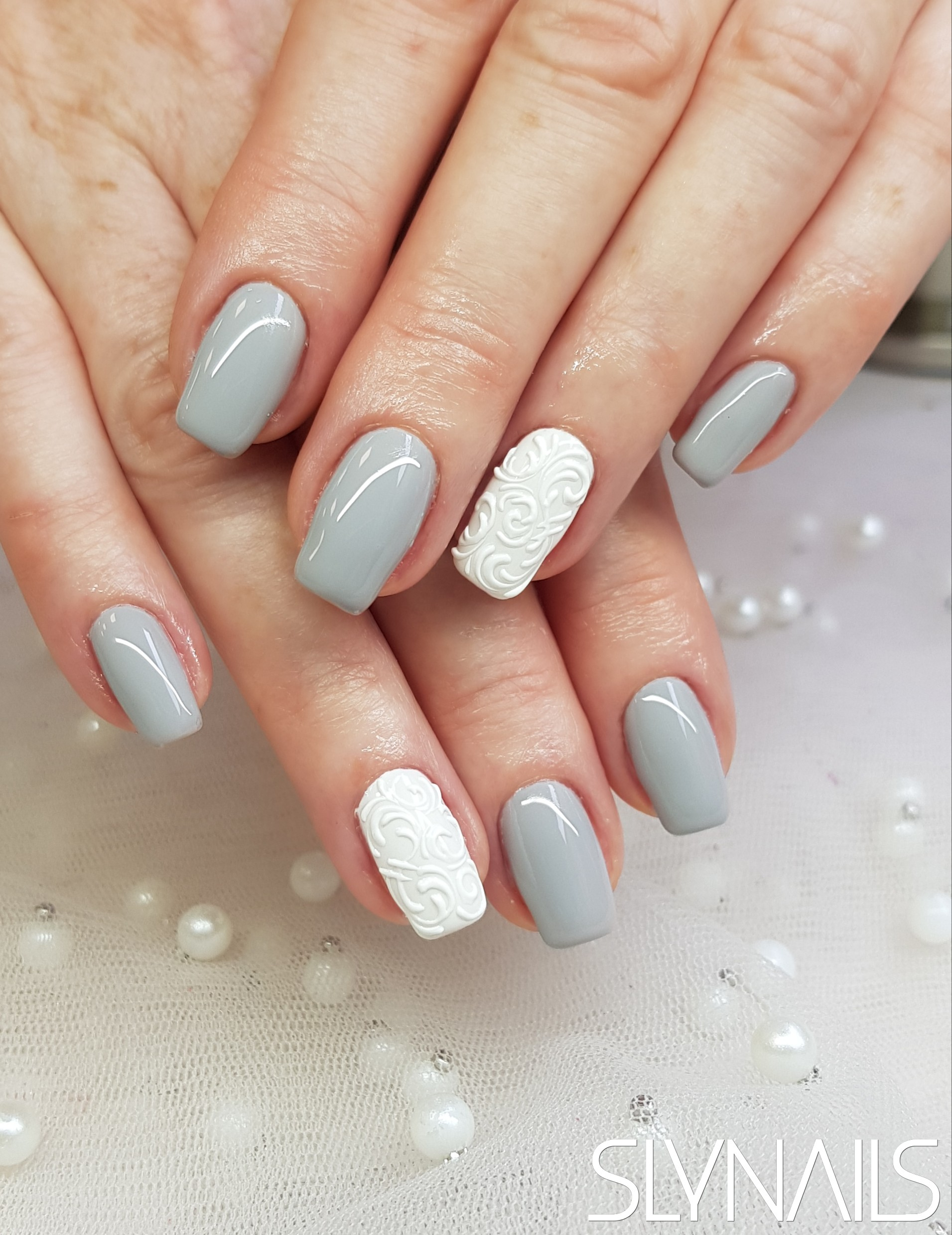 Gel-lac (gel polish), Grey, Square, White, One color, Art gel decorations, Tendril Pattern