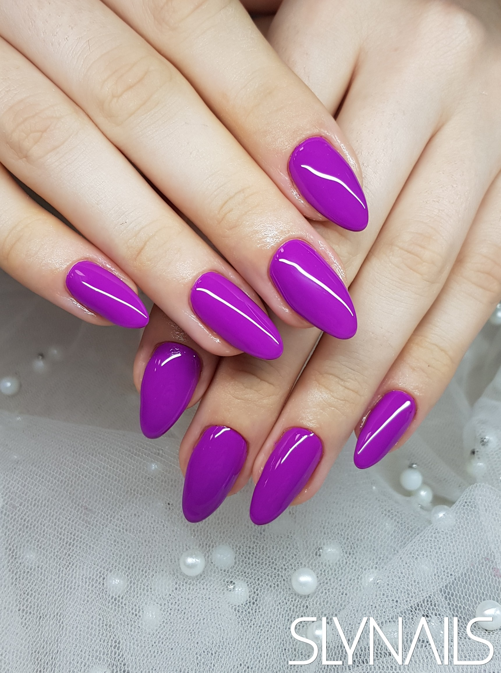 Nail extension, Purple, One color, Almond, Without decoration