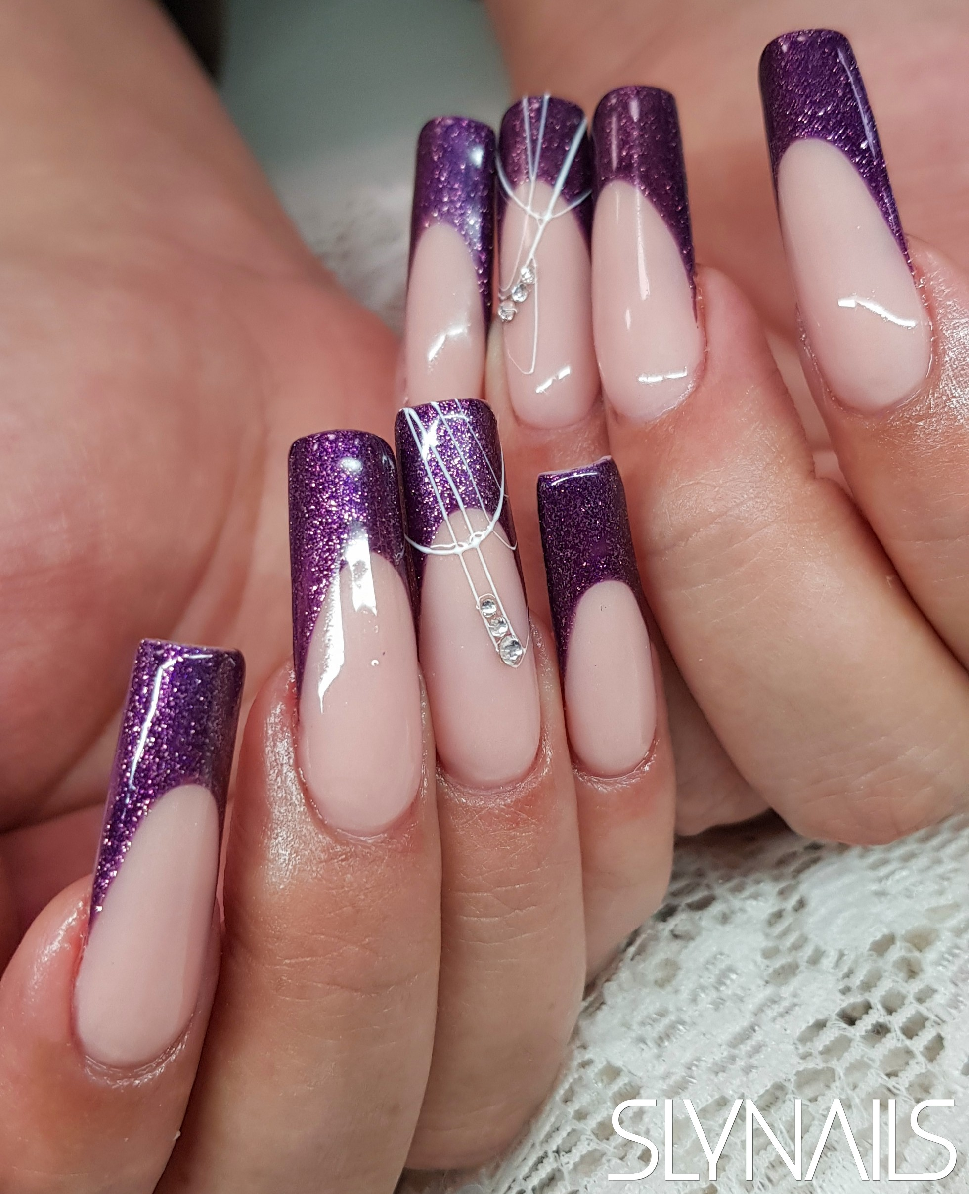 Nail extension, Longer nails, Square, Purple, French, Art gel decorations, Swarovski