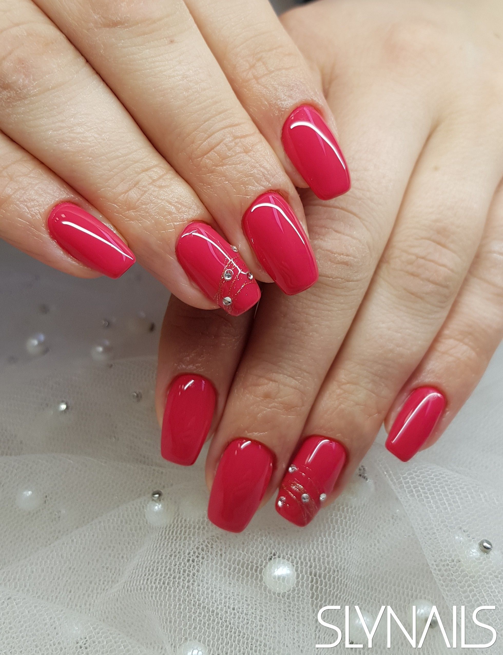 Nail extension, Red, Narrowed cube, Art gel decorations, Swarovski, One color