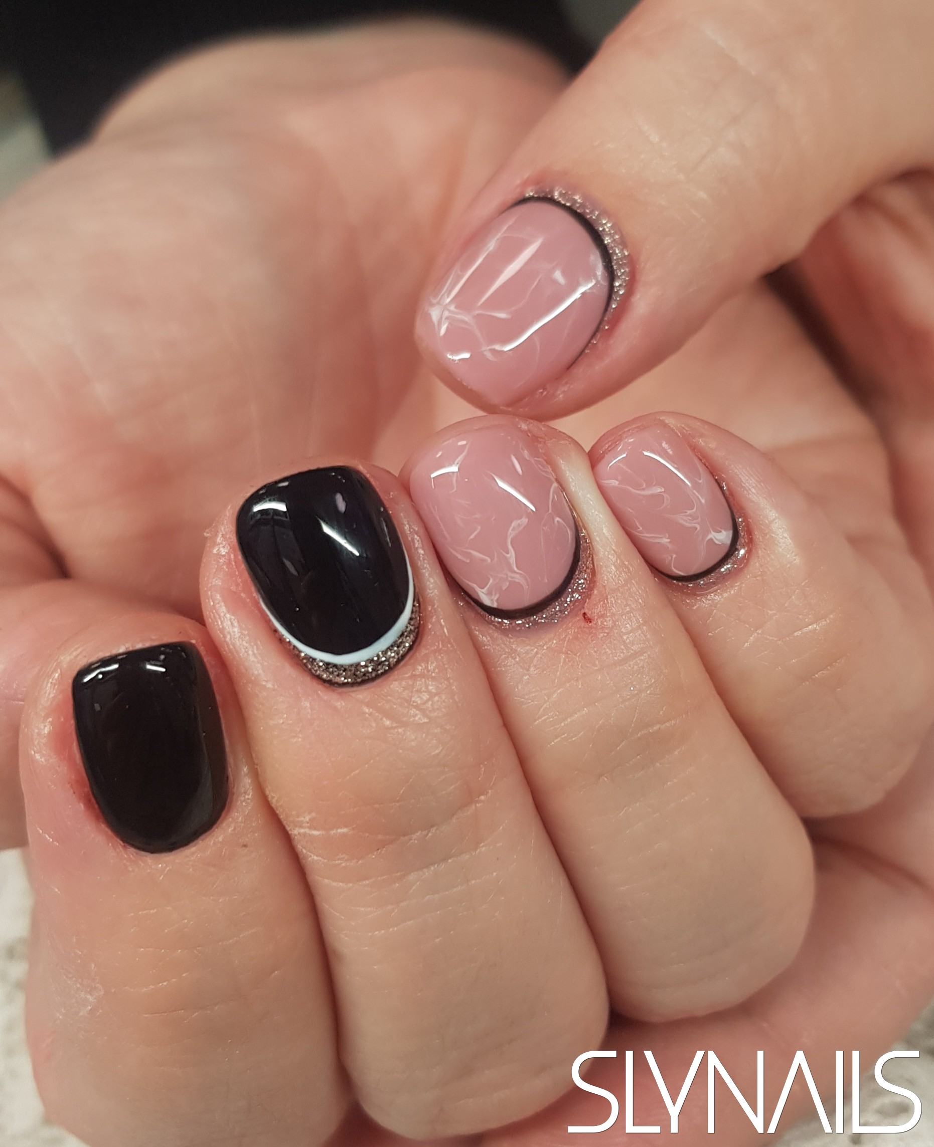 Gel-lac on toes, Black, Art gel decorations, Marble effect, Nude, One color