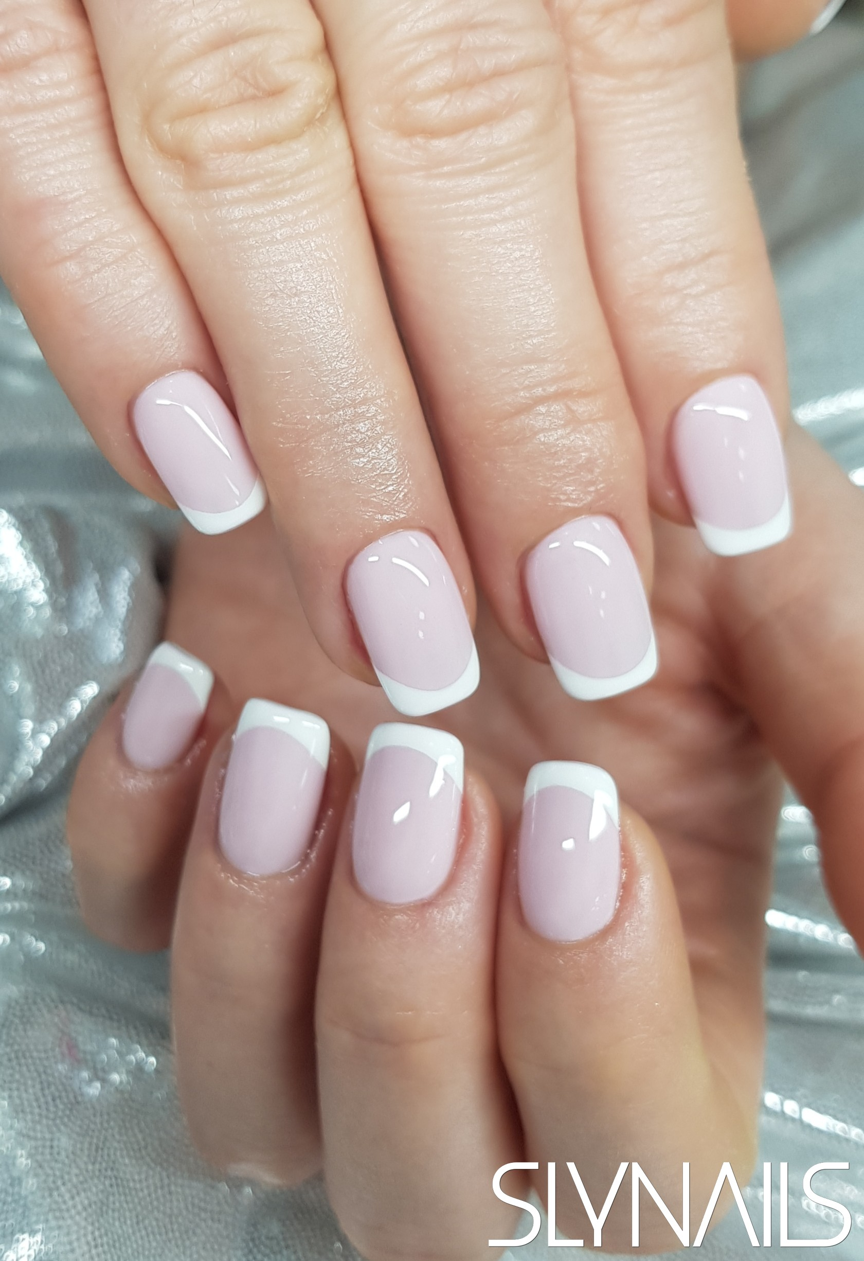 Gel-lac (gel polish), French, White, Pink, Square, Without decoration