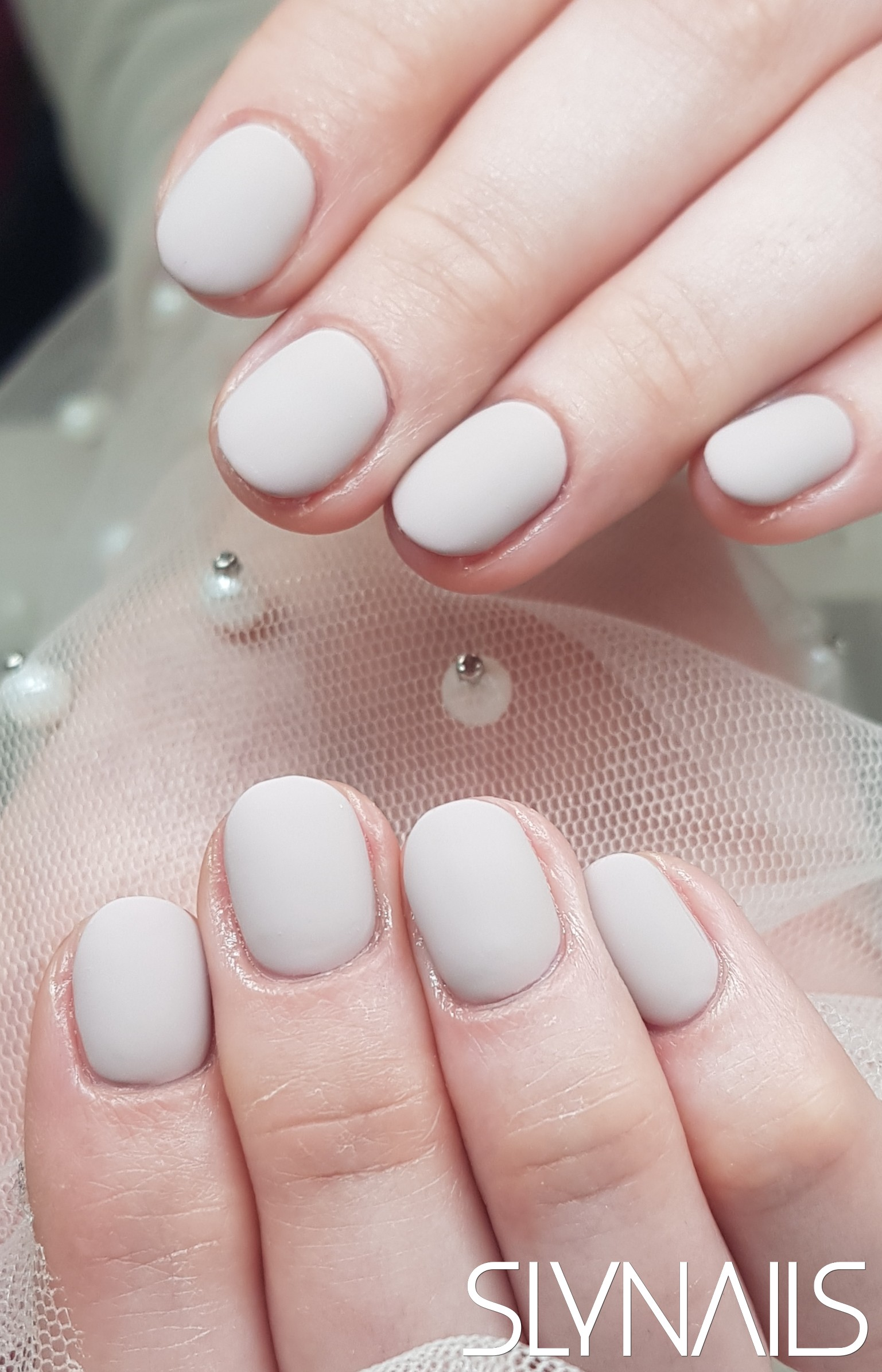 Gel-lac (gel polish), Grey, One color, Rounded, Matte, Without decoration